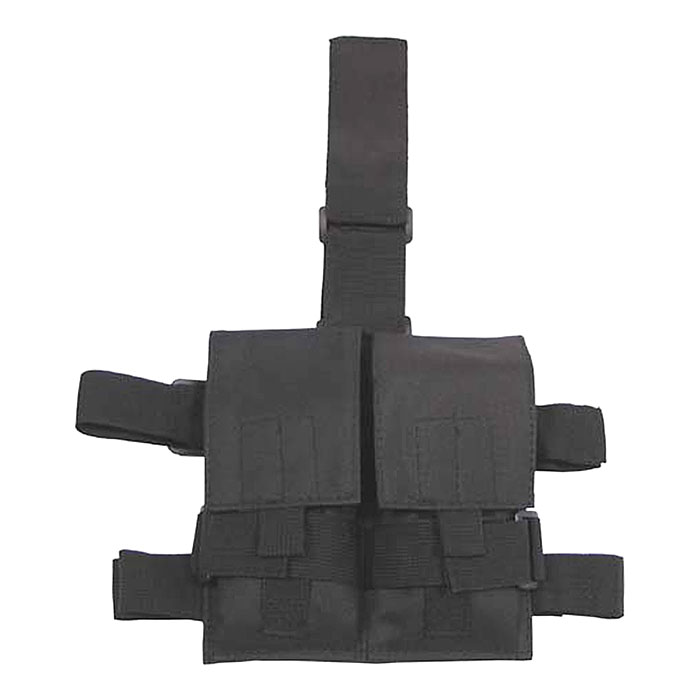 Боевая сумка с креплением на ногу, 2 секции, черная.