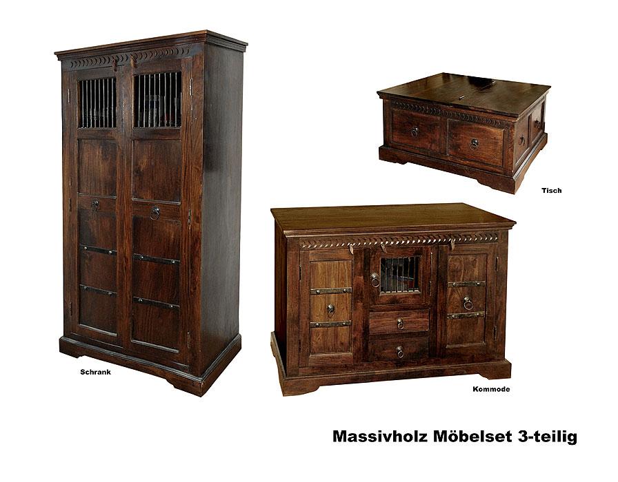 kolonialstil m belset 3 teilig massivholz b bundeswehr shop r er hildesheim. Black Bedroom Furniture Sets. Home Design Ideas