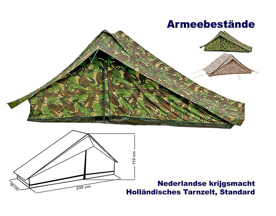 Holländisches Einmann Zelt mit Boden Tarnzelt Militärzelt