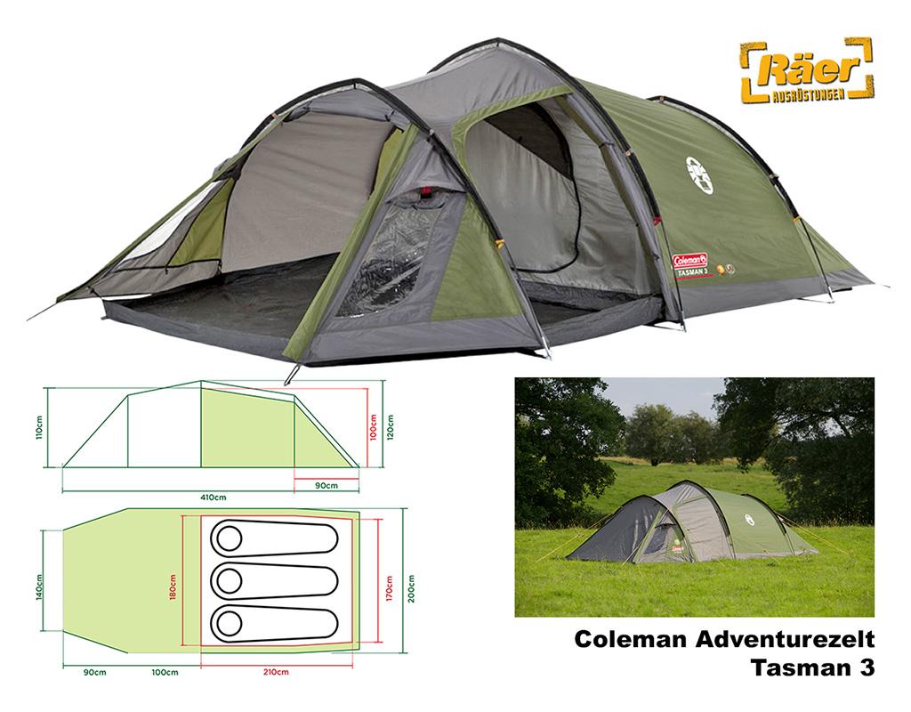 Coleman Tasman 3 grün Zelt