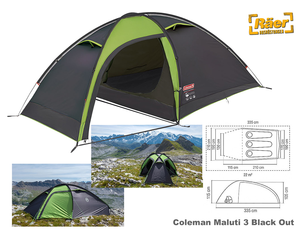 Coleman Zelt 3 P. Maluti 3 Black Out, 6000 mmWs A