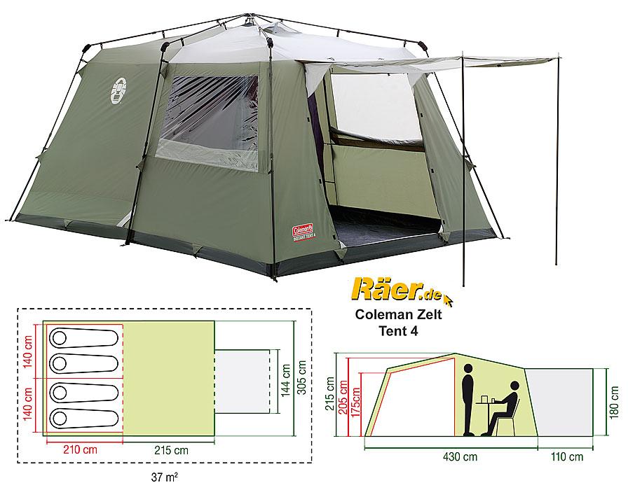 Coleman Zelt 4 P. Instant Tent 4 One-Minute A  sc 1 st  Räer & Coleman Zelt 4 P. Instant Tent 4 One-Minute A Bundeswehr Shop ...