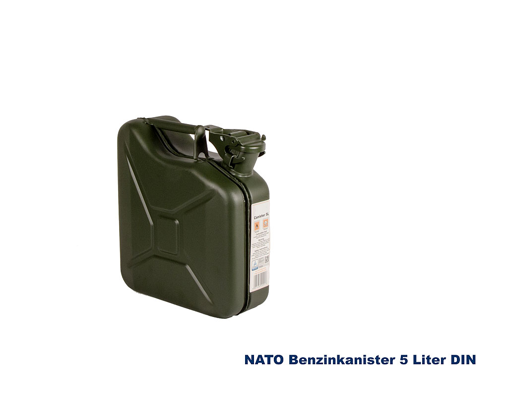 nato benzinkanister 5 liter stahlblech a bundeswehr shop. Black Bedroom Furniture Sets. Home Design Ideas
